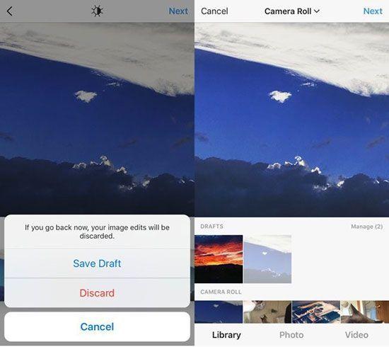 Instagram permite guardar fotos como borradores