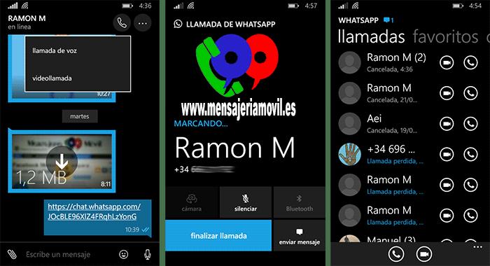 WhatsApp para Windows 10 Mobile con VideoLLamadas