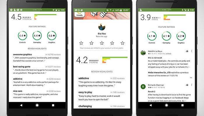 Google Play y su nuevo sistema de valoraciones