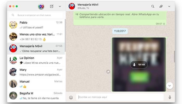 imagen WhatsApp Web para recuperar fotos