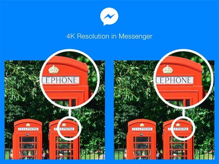 fotos con resolución 4K en Facebook Messenger