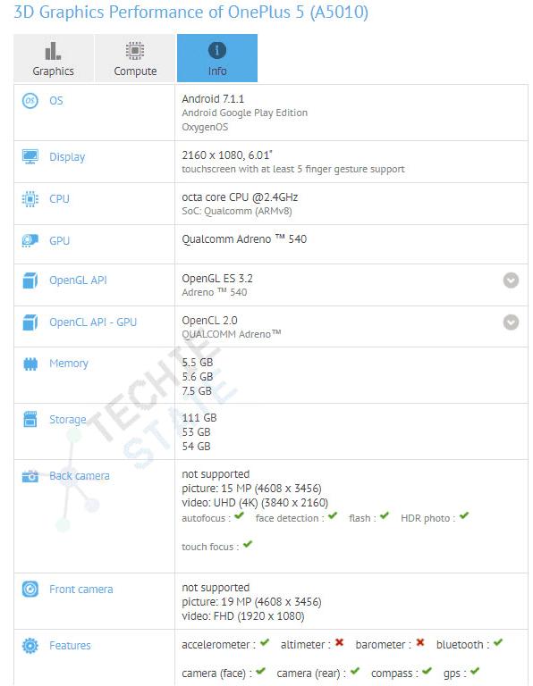 imagen características OnePlus 5T