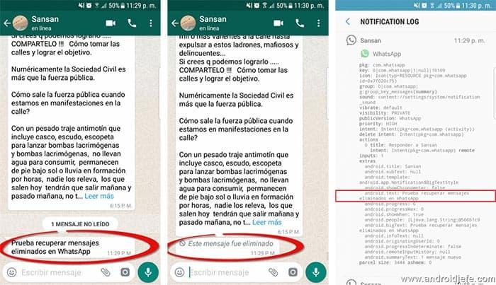 imagen whatsapp recuperar mensajes enviados
