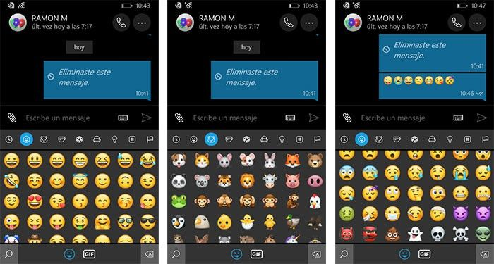 imagen WhatsApp para Windows 10 Mobile nuevos emojis