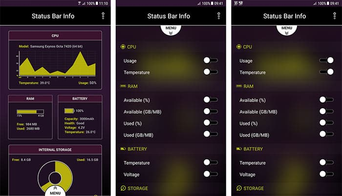 imagen Status Bar Info