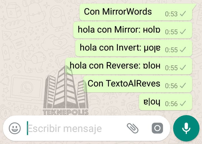 WhatsApp Texto Al Reves