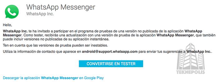 imagen actualizar whatsapp para android beta