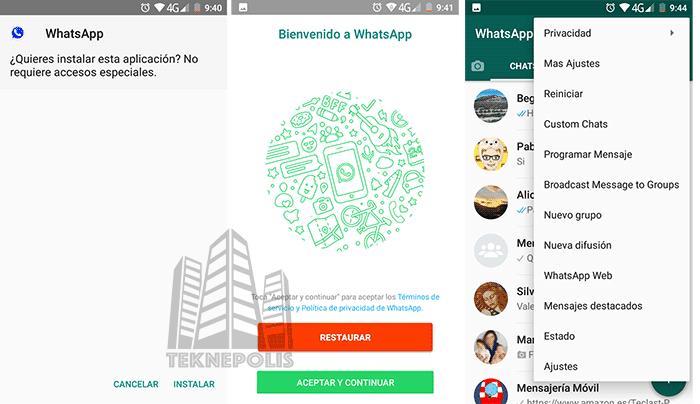 imagen instalar cualquier WhatsApp MODs