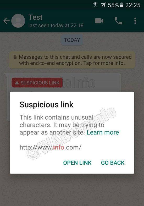 whatsapp detectar enlaces sospechosos