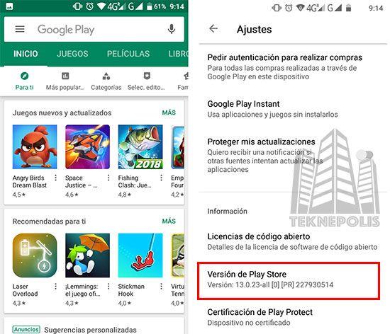 versión de Google Play