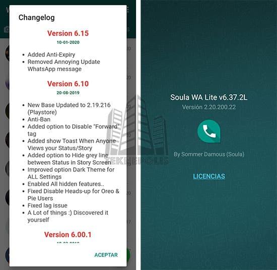 imagen con las últimas novedades de Soula WA Lite 6.37.2L