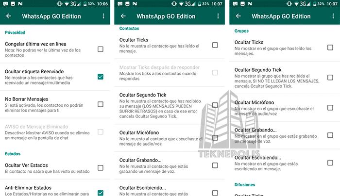 WhatsApp GO Privacidad