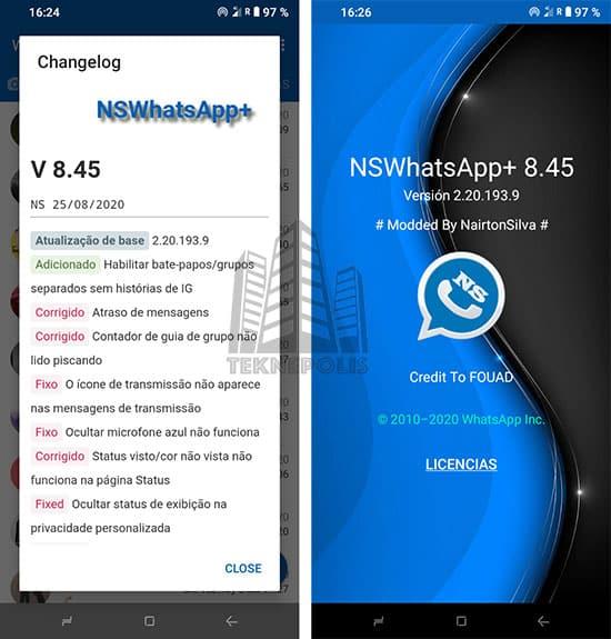 imagen con las últimas novedades de NSWhatsApp 8.45