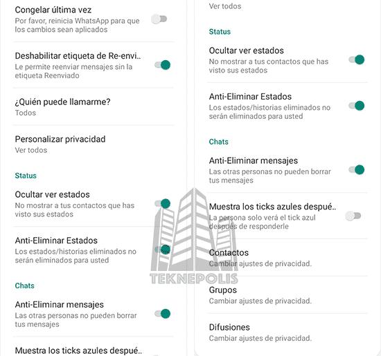 imagen de Funciones de Privacidad en YoWhatsApp