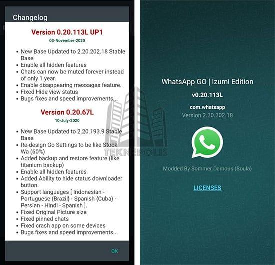 imagen con las últimas novedades de WhatsApp GO 0.20.113L