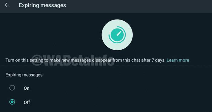 imagen de mensajes con fecha de caducidad en WhatsApp