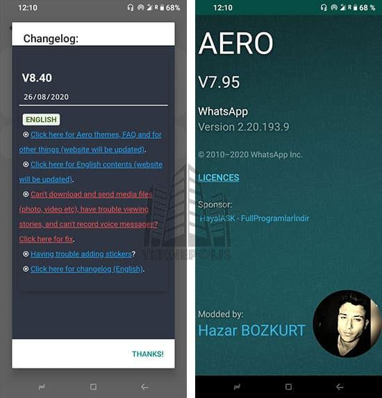 imagen con las últimas novedades de WhatsApp Aero 8.40