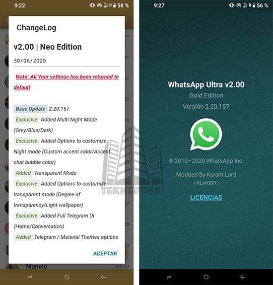 imagen novedades última versión de WhatsApp Gold