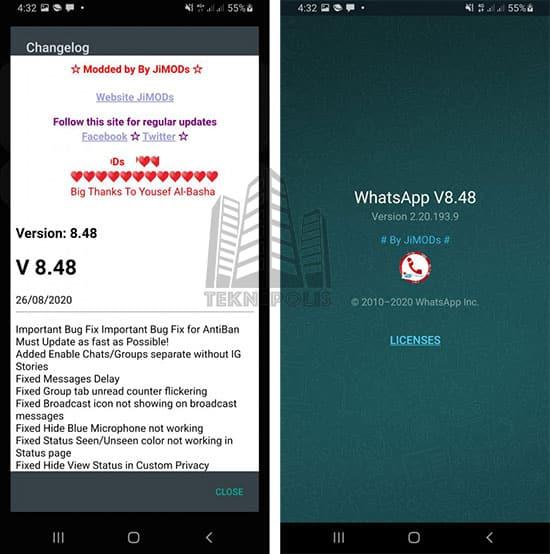 imagen con las últimas novedades de WhatsApp Plus JiMODs 8.48