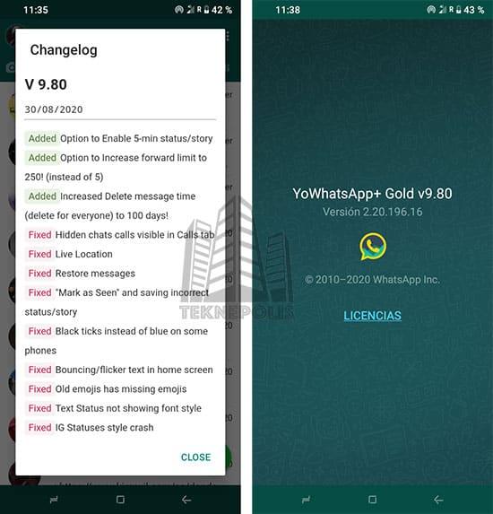 imagen con las últimas novedades de YoWhatsApp GOLD 9.80