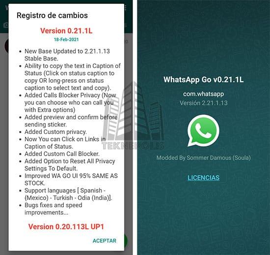 Imagen con las últimas novedades de la versión 0.21.1L de WhatsApp GO 2021