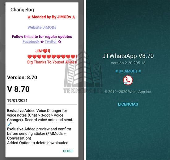 imagen con las últimas novedades de JTWhatsApp 8.70