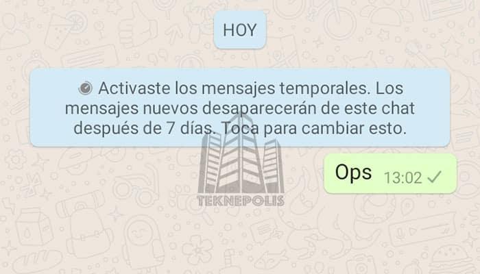 imagen de Mensajes temporales en WhatsApp