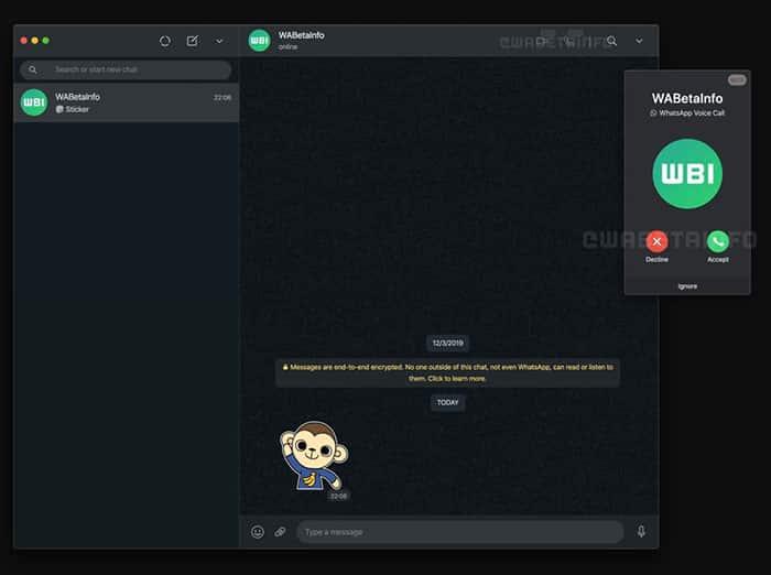 imagen de videollamadas en WhatsApp Web / Desktop