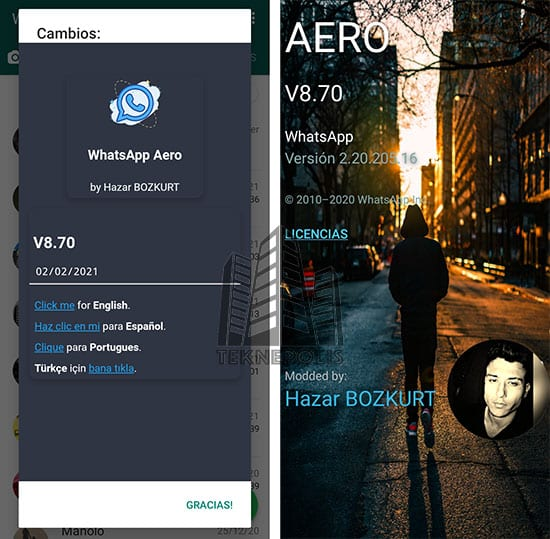 imagen con las novedades de la última versión 8.70 de WhatsApp Aero 2021