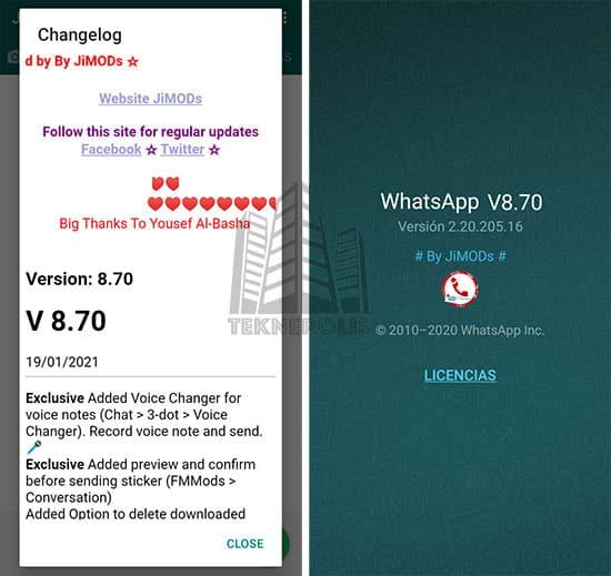 imagen con las últimas novedades de WhatsApp Plus Jimods 8.70