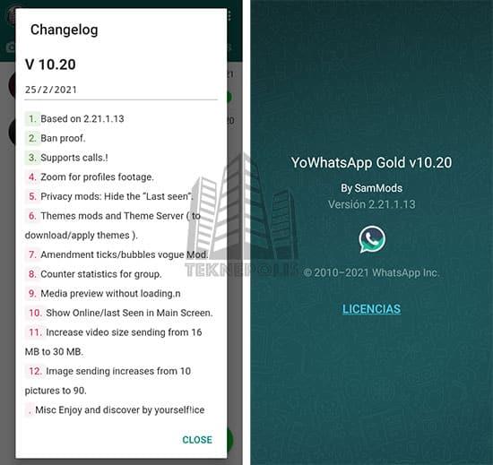 imagen con las novedades de la última versión 10.20 de YoWhatsApp GOLD 2021
