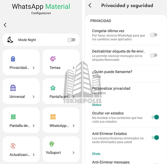 imagen características principales de WhatsApp Material D2