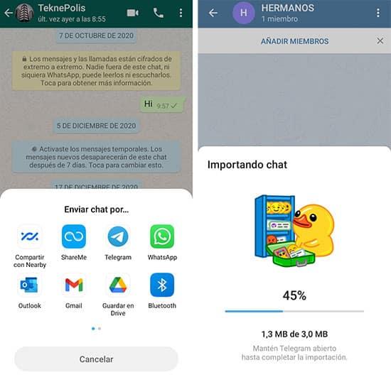 Cómo importar chats de WhatsApp a Telegram