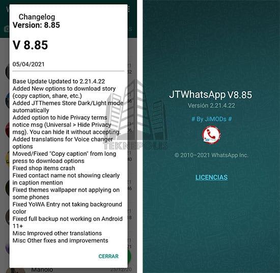 imagen con las últimas novedades de la versión 8.85 de JTWhatsApp 2021