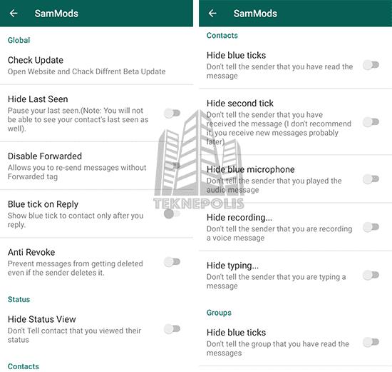 imagen con las opciones de privacidad de WhatsApp Base