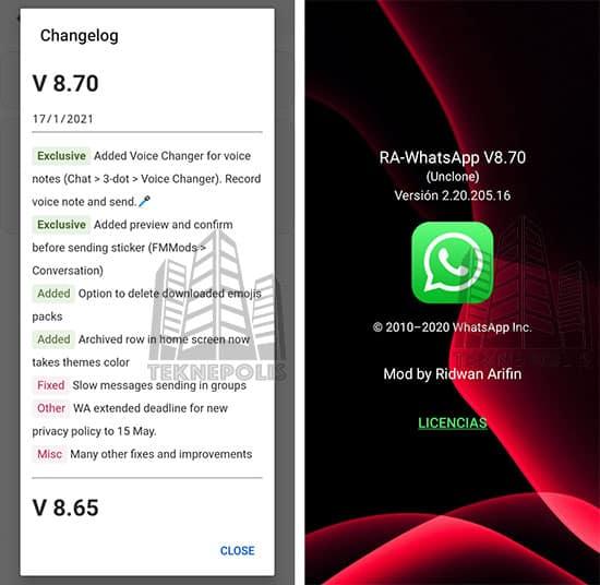 imagen con las últimas novedades de Ra WhatsApp iOS 8.70