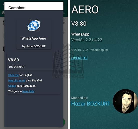novedades de la última versión 8.80 de WhatsApp Aero 2021