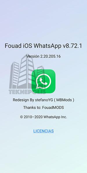 Imagen con las novedades de la última versión 8.72.1 de Fouad iOS WhatsApp 2021