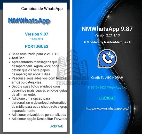 novedades última versión 9.87 de NM WhatsApp 2021