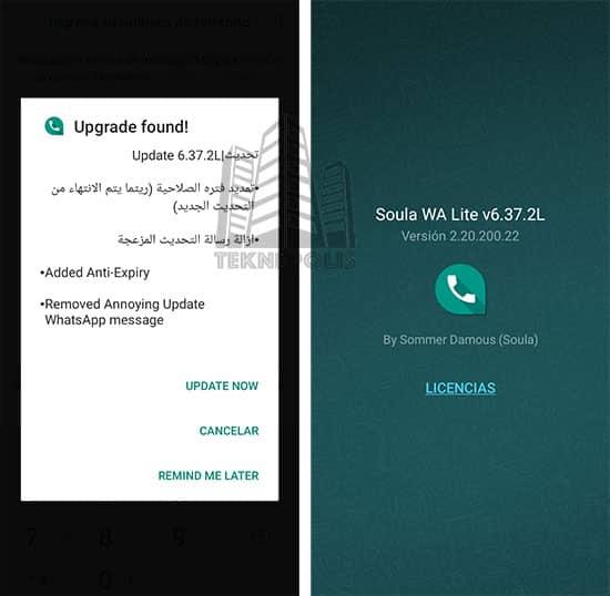 imagen con las últimas novedades de Soula WA Lite 6.37.2L Extended