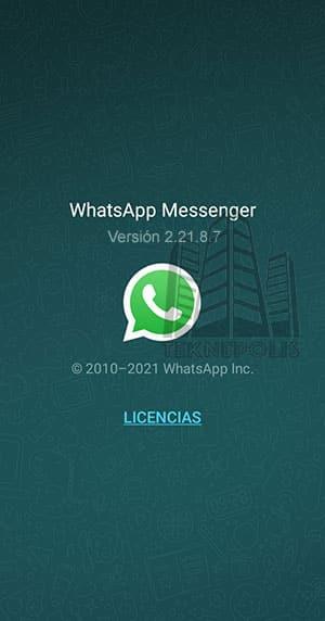 imagen con la última versión 2.21.8.7 de WhatsApp Base 2021