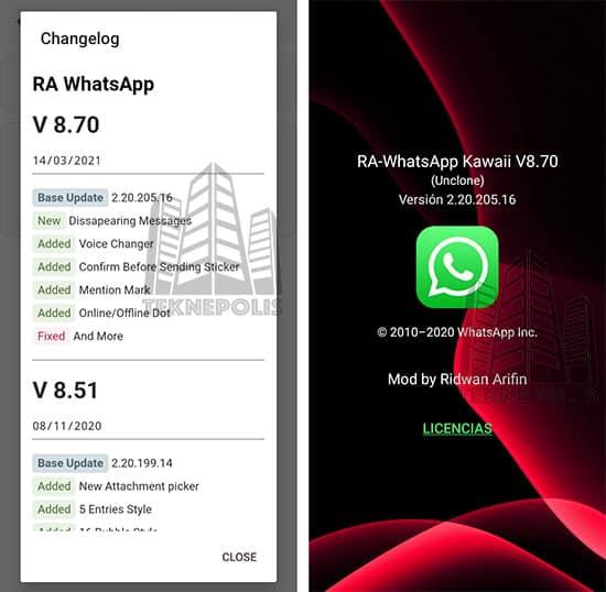 imagen con las novedades de la versión 8.70 de Whatsapp Kawaii 2021