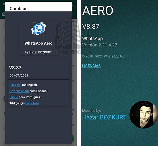 WhatsApp Aero 8.87